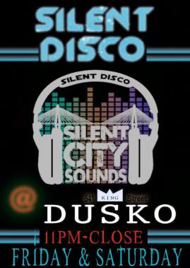 SILENT CITY SOUNDS Presents: Silent Disco under the STARS/LASERS this Friday and Saturday at the newest bar/courtyard/art gallery to hit Upper King Street!! *2 of Charleston's best DJs will be dueling it out AT THE SAME TIME over the 2-channel headphones on the largest open-air courtyard on King Street.* *SILENT CITY SOUNDS has the first LED sound activated headphones premiering in the U.S.* You and your best friends = the best party on a Friday and Saturday night 11- CLOSE!! LETS GET WEIRD!! $2 TECATE & PBRs all night long