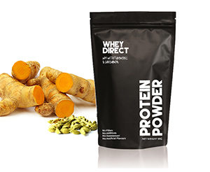 Whey Direct new Zealand whey protein isolate with turmeric cardamon