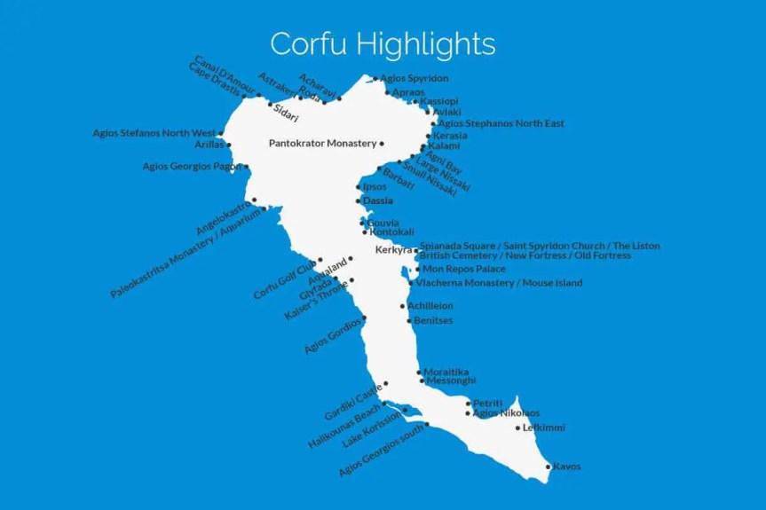 Corfu Highlights Map