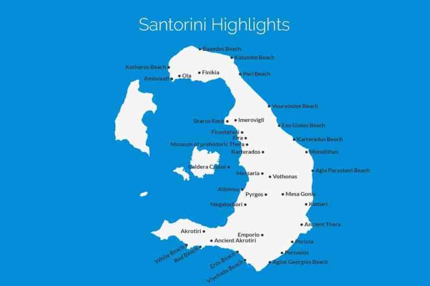 Santorini Highlights Map