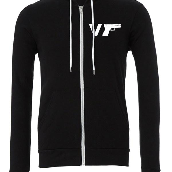 v-gun-handgun-upper-Black-Zipper-Hoodie-Front