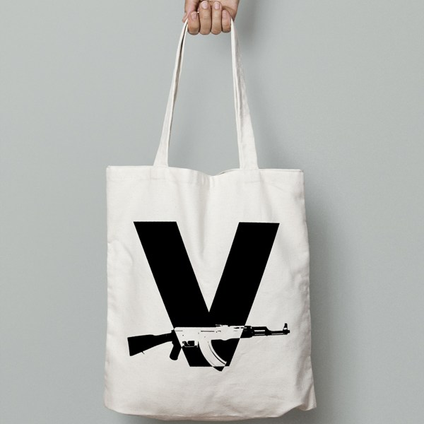 V-gun-ak47-Canvas-Tote-Bag-Black