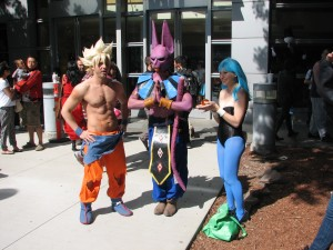 Super Saiyan Goku, Bills (I think, if I'm remembering right) and Bulma