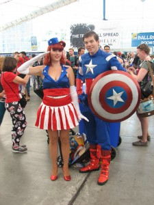 Captain America and his 1940's pin-up cheerleader. (I'm not sure what she would be called, please fill me in if you do know.)