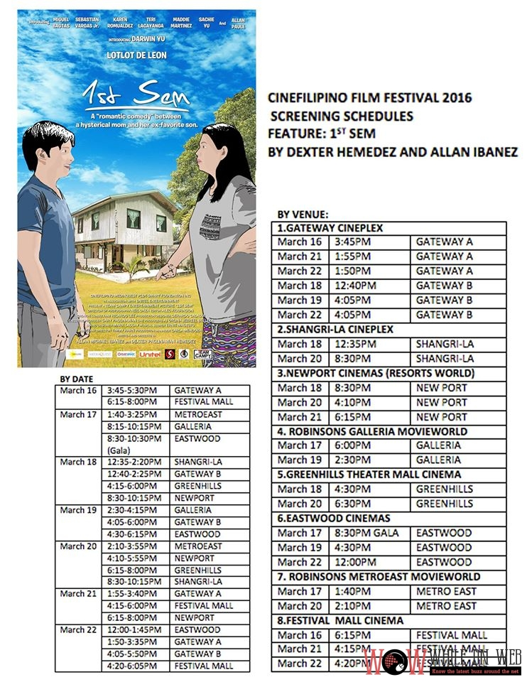 CineFilipino 2016 Screening Schedules