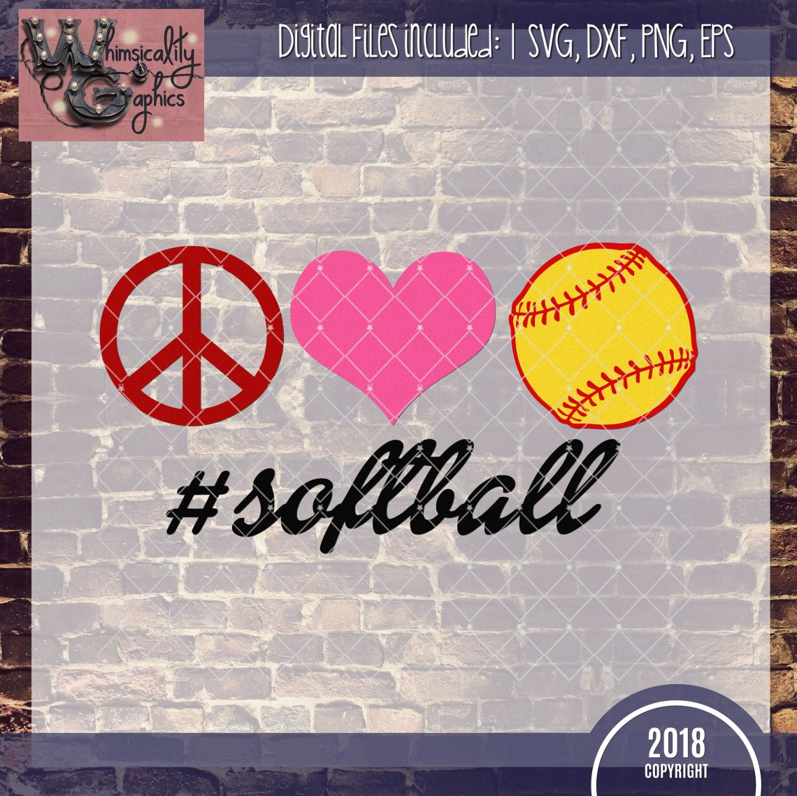 Download Peace, Love, Softball SVG, DXF, PNG, EPS