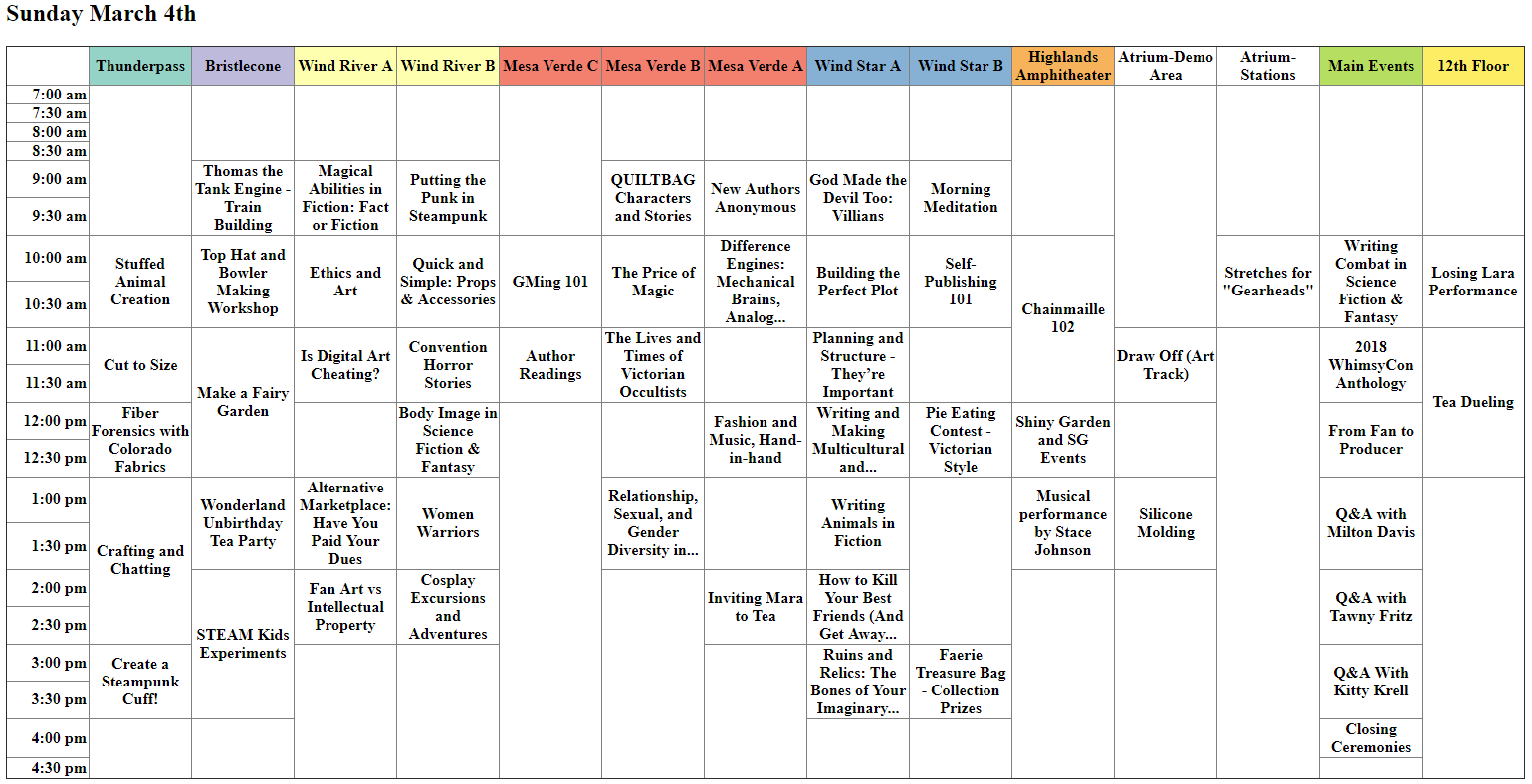 2018 programming schedule whimsycon click to enlarge fandeluxe Gallery