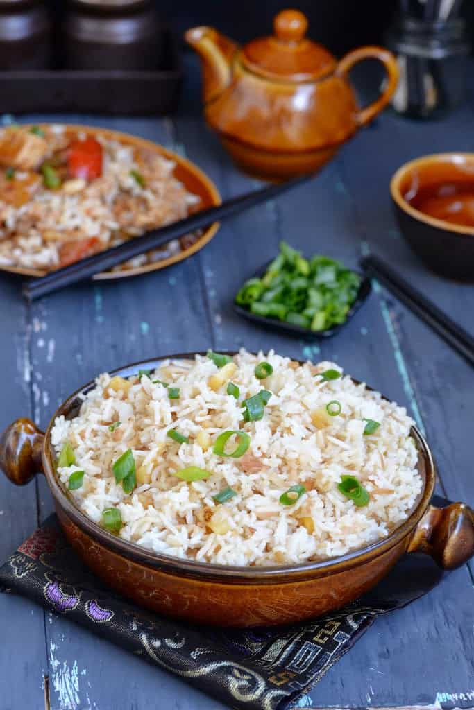 Vegetarian Pineapple Fried Rice Recipe is a rice based Chinese dish that goes perfectly with any Chinese style gravy that you prepare for dinner or lunch.