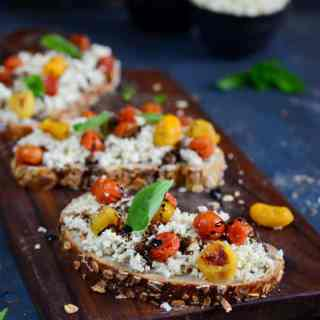Herbed Ricotta and Roasted Tomato Crostini