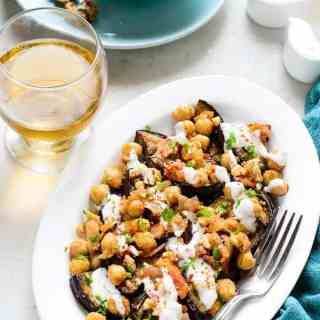 Grilled Aubergine with Spicy Chickpeas and walnut sauce