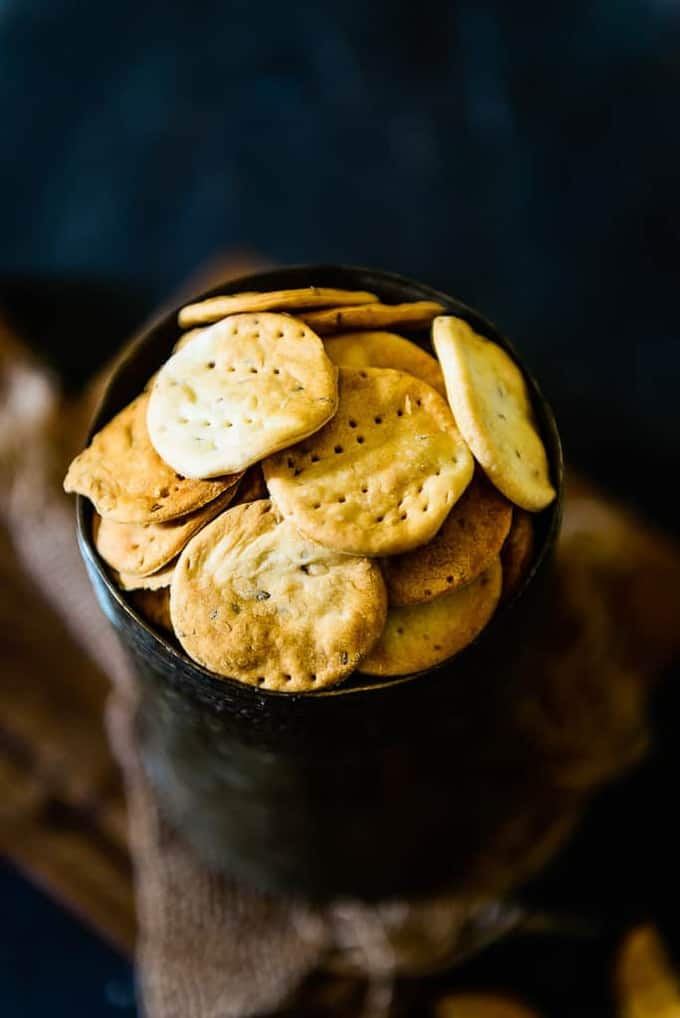 Baked Papdi, a healthy twist on Indian style crackers.