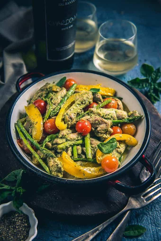 One Pot Pesto Chicken Recipe, How to make One Pot Pesto Chicken