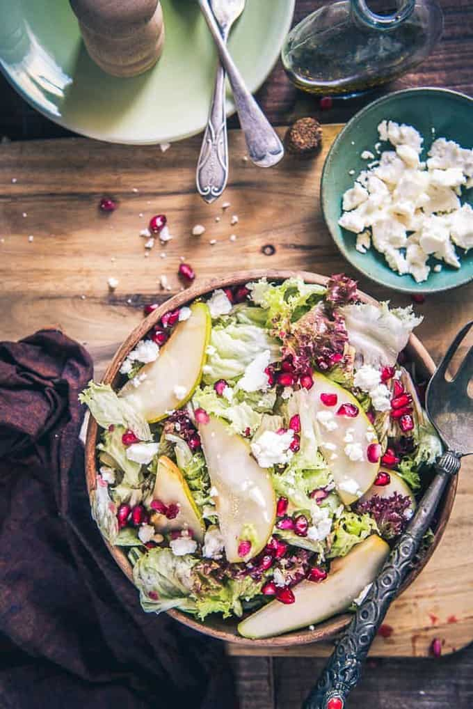 Pear Pomegranate Salad Recipe, How to make Pear Pomegranate Salad