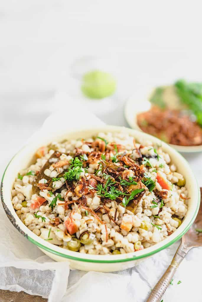 Making the Vegetable Barley Pilaf with barley instead of rice means that you get the benefit of added vitamins and nutrients including extra fiber.