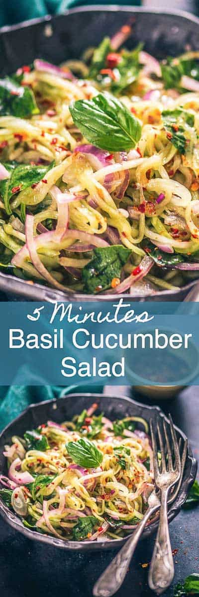 Asian Basil Cucumber Salad fits in my plan for eating a healthy and hydrating meal for summer. Note its recipe and munch it this summer! Asian I Salad I Healthy I recipe I easy I simple I best I quick I homemade I Spicy I Cucumber I Onion I