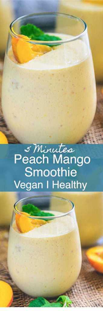 Healthy Vegan Peach Mango Smoothie Recipe is a delicious and healthy choice to have for breakfast. Make it in regular milk if Almond milk is not available. Healthy I vegan I frozen I Low fat I easy I simple I best I breakfast I recipe I food I photography I drink I beverage I