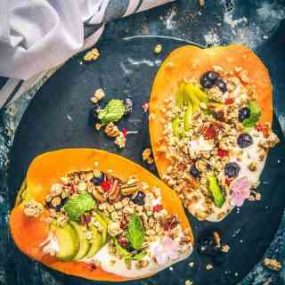 papaya boat recipe, healthy breakfast idea, papaya recipes, tropical papaya boat
