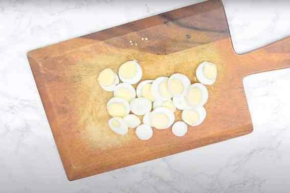 Sliced boiled eggs.