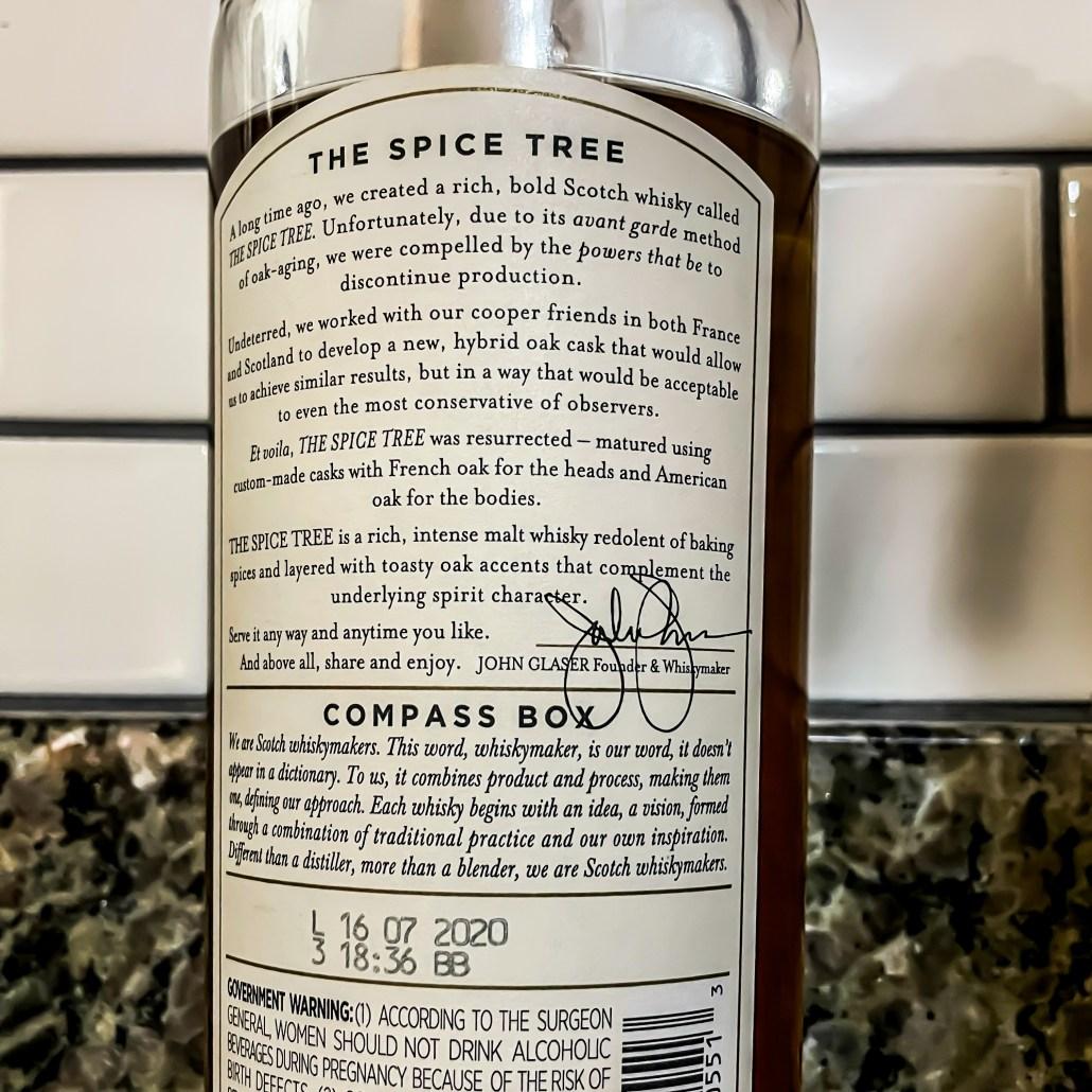 The spice tree compass box bottle of blended malt scotch whisky