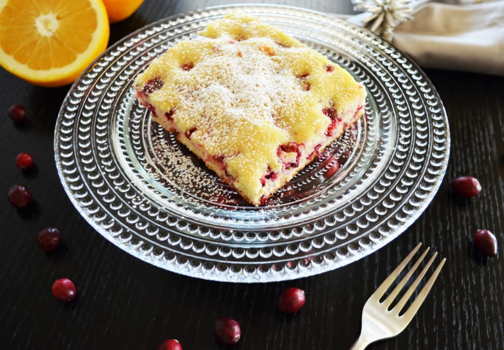Cranberry Orange Cake with Powder Sugar Dusting