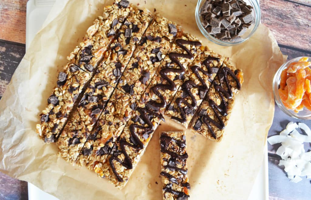 Candied Orange Roasted Coconut and Dark Chocolate Granola Bars