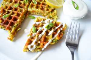 The Best Waffled Zucchini with (Two Ingredient)Lemon Cream Sauce