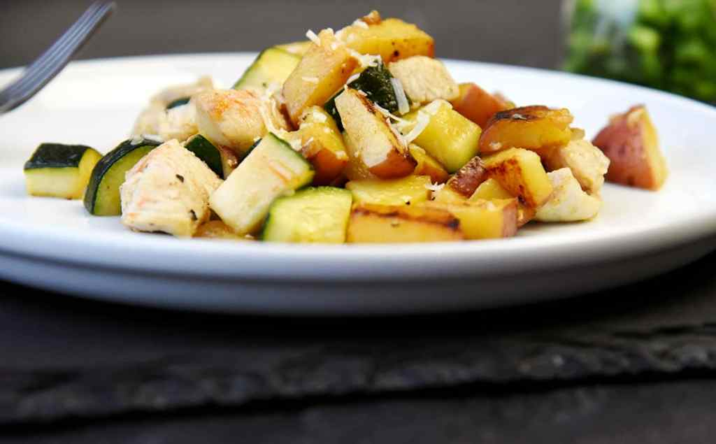 Potato zucchini chicken Skillet