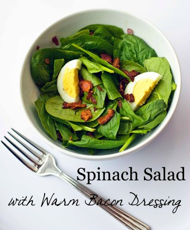Spinach Salad with Warm Bacon Dressing on Whisk Together