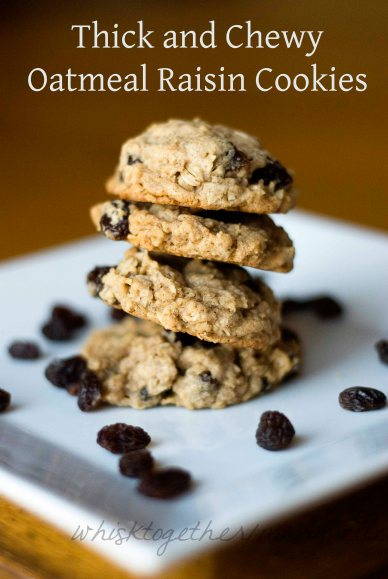 thick and chewy oatmeal raisin cookies on Whisk Together