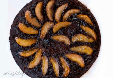 Upside Down Pear Gingerbread Cake on Whisk Together