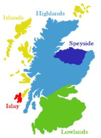 Karte über Whiskyregion in Schottland