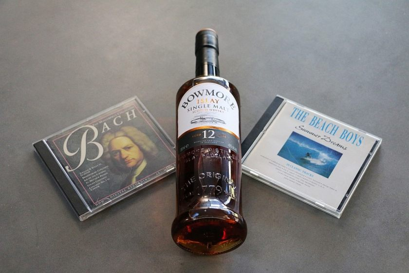 Pic of bottle with CD's - Whisky and Music