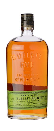 bottle of Bulleit Rye Whiskey