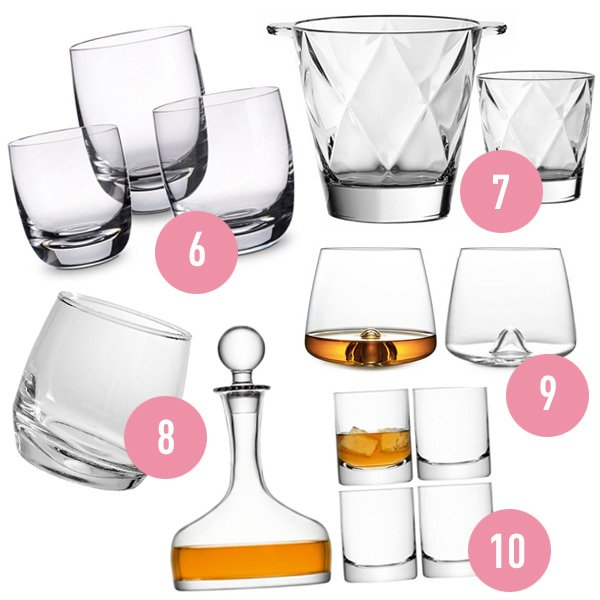 collection of various stles of whisky glasses with a decanter of whisky