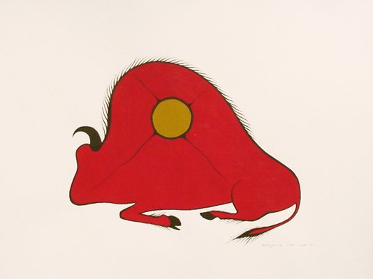 an abstract representation of a buffalo. the body is red and there is a gold sun depicted within the buffalo.