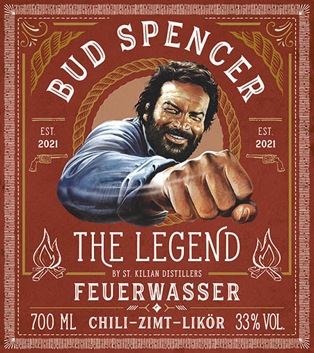 Wildwest Likör Bud Spencer Feuerwasser Etikett