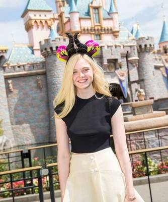 Elle Fanning (Disney's #Maleficent) Visits Disneyland