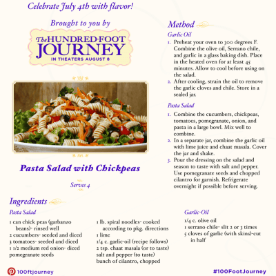 Pasta Salad with Chickpeas Recipe from THE HUNDRED-FOOT JOURNEY #FoodieFriday ‪#‎100FootJourneyEvent