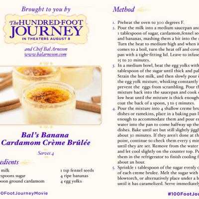 Banana Caradmom Crème Brûlée Recipe from THE HUNDRED-FOOT JOURNEY #100FootJourneyEvent