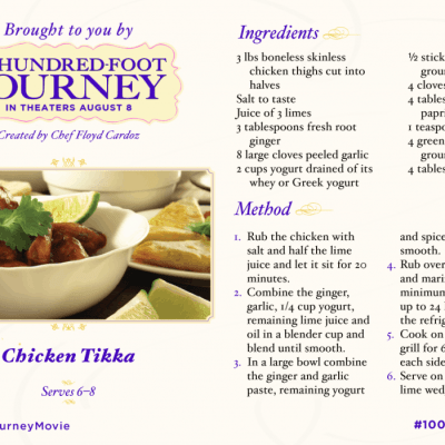 Chicken Tikka Recipe Inspired by #100FootJourneyEvent