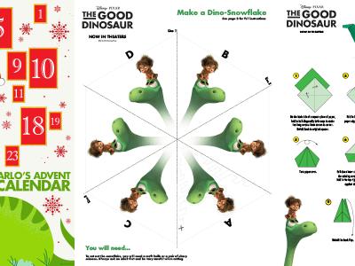 Disney/Pixar's THE GOOD DINOSAUR Advent Calendar and Activity Sheets #GoodDino