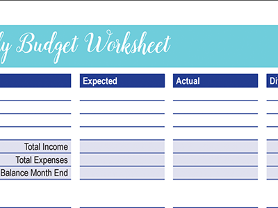 Monthly Budget Worksheet: 30 Days of Free Printables