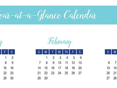 2016 Year-at-a-Glance Calendar: 30 Days of Free Printables
