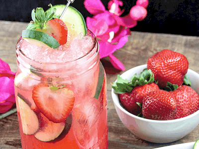 Strawberry Cucumber Lemonade Punch