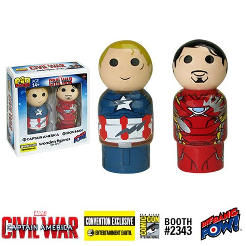 Captain America- Civil War Captain America vs. Iron Man Pin Mate Wooden Figure Set of 2 - Convention Exclusive