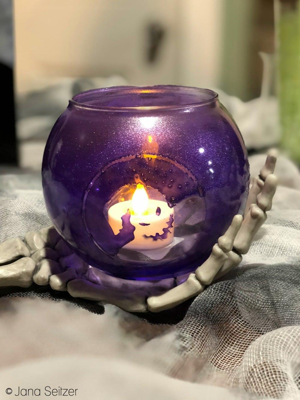 DIY Halloween Decor -Oogie Boogie Candle Holder