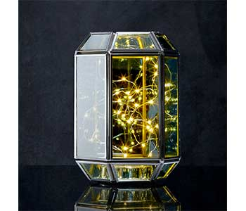 Rectangular Terrarium Lantern with Silver Fairy Lights