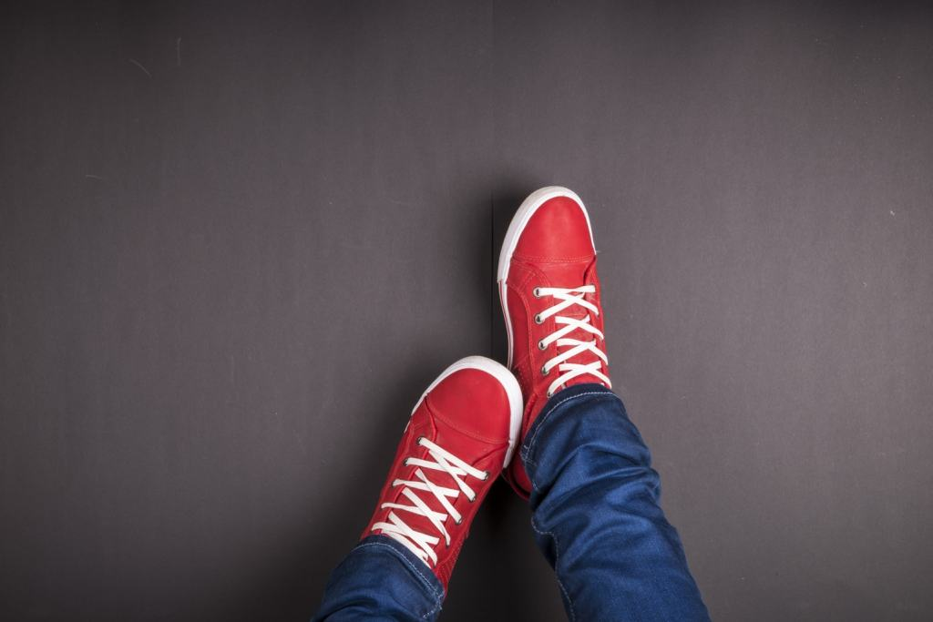 red shoes on black background