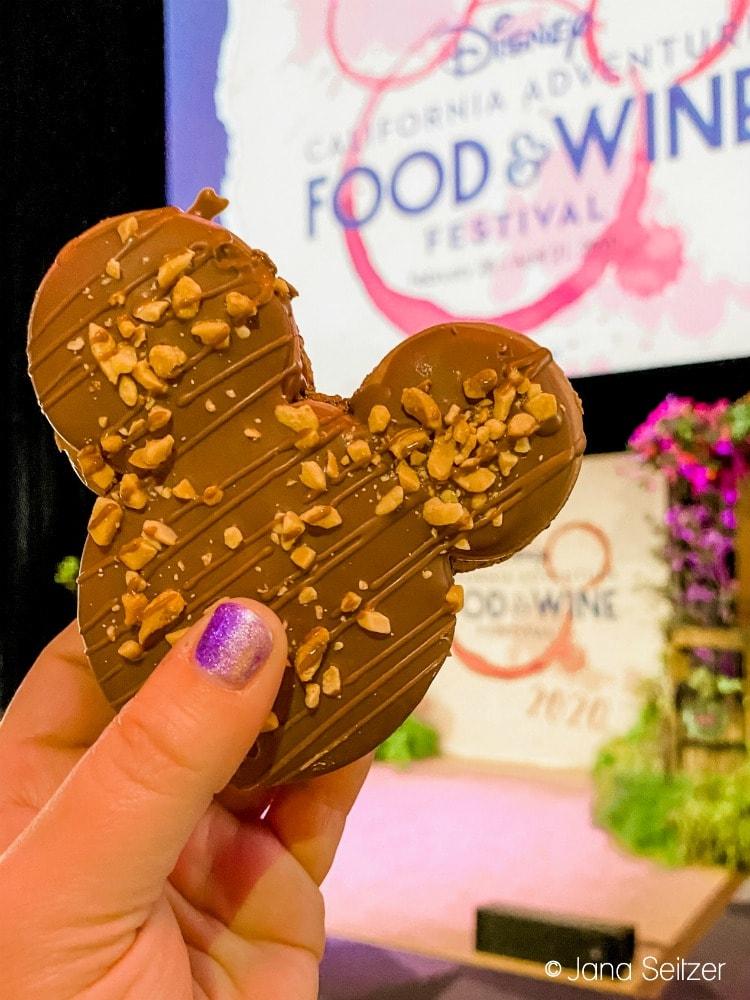 Mickey-shaped Caramel-Peanut Milk Chocolate Macaron disneyland food and wine festival