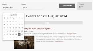 Alle whisky events voor een bepaalde datum weergeven is kinderspel met de filterbalk.